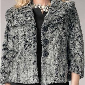 CAbi Chinchilly Faux Fur Cropped Swing Jacket